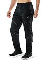 TSLA Men's Windproof Cycling Thermal Fleece Winter Pants Running Hiking Cold Active Bottoms Sweats