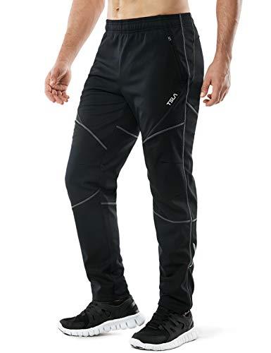 TSLA Men's Windproof Cycling Thermal Fleece Winter Pants Running Hiking Cold Active Bottoms Sweats, Cycling Windpants(ykb01) - Black & Grey, Medium (Waist 30.5-32 Inch)