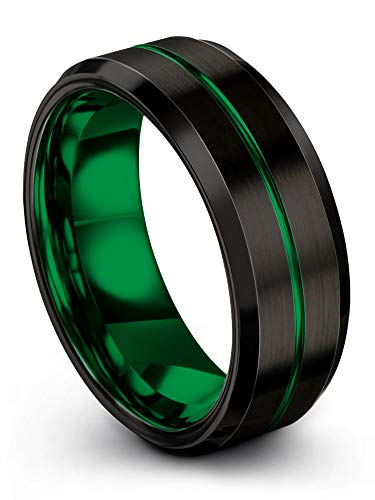 (Chroma Color Collection Tungsten Carbide Wedding Band Ring 8mm for Men Women Green Interior with Green Center Line Bevel Edge Brushed Polished Comfort Fit Anniversary Size 14)