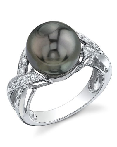 THE PEARL SOURCE 18K Gold 11-12mm Round Genuine Black Tahitian South Sea Cultured Pearl & Diamond Infinity Ring for Women
