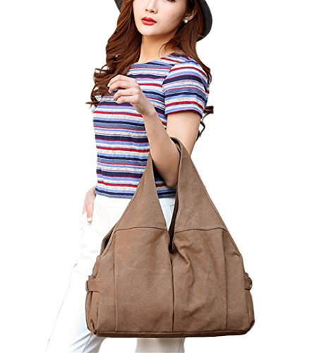 Colours Handbag Canvas Shopper Women's Vintage Shoulder Hobo Bag Brown Available Bag Slouch Brown 5 PB Totes Bag SOAR YHq8qt6