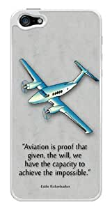 Airplane Aviation Eddie Rickenbacker Quote Snap-On Cover Hard Plastic Case for iPhone 5/5S (White) by lolosakes