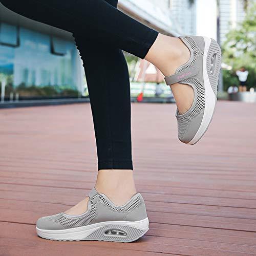 Zeppa Sneaker Mocassini Da Sportivi Casual Donna Ragazze Moda Jane grigio Per Estive Ginnastica 1 Basse Sandali Hishoes Barca Scarpe Mary Mesh 6xO5zaOq
