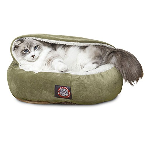 18 inch Sage Suede Canopy Cat Bed