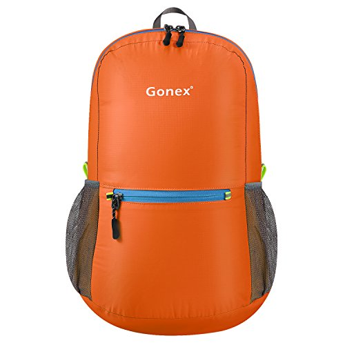 Gonex Ultra Lightweight Packable Backpack Hiking Daypack Handy Foldable Camping Outdoor Travel Cycling Backpacking(Orange)