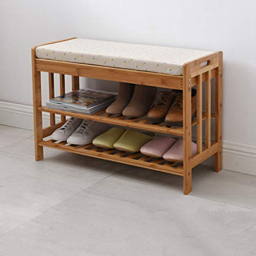 - CQ Small Floral Pattern Change Shoes Stool Cabinet Nordic Door Wear Shoes Bench Bamboo Storage Bench Shoe Rack Simple Modern Shoes Bench