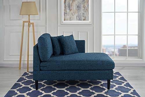 Chaise Lounge Indoor Chair Stitched Linen Fabric (with 2 Accent Pillows), Modern Mid Century Plush Chaise Lounger for Office | Living Room or Small Space Home Furniture, Navy Blue