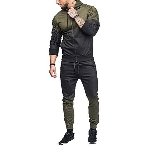 - NRUTUP Men's Clothing Deals, Men's Autumn Winter Stripe Gradient Color Sweatshirt Top Pants Sets Tracksuit(Army Green,XXL)