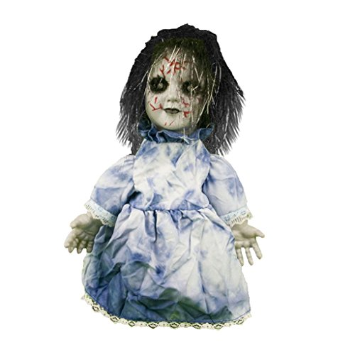 DYNWAVE Electric Ghost Doll with Black and White Hair, Horrible Hurt Face, Wearing Blue Dress ()