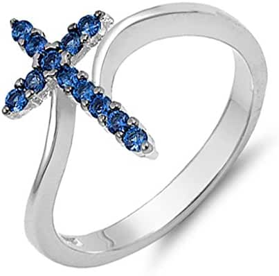 Vertical Cross Ring Sterling Silver Simulated September Birthstone Blue Cubic Zirconia Sizes 4-10