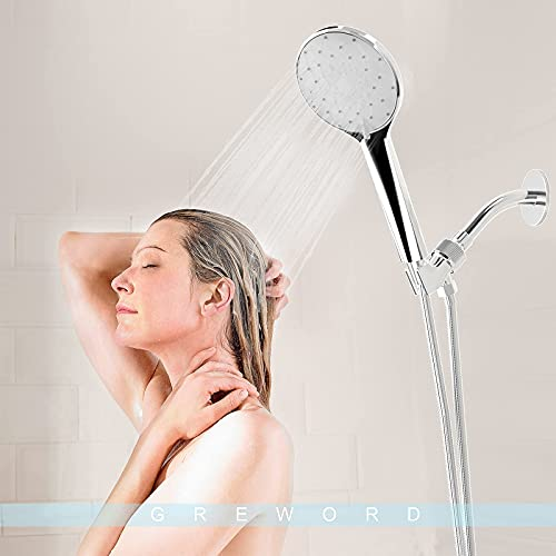 High Pressure Handheld Shower Head - 6 Spray Settings Hand Held Shower with 59\'\' Stainless Steel Hose, Adjustable Overhead Bracket and Wall Bracket, Built-In Power Wash Function