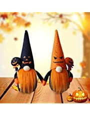 2 Set of Halloween Gnomes Plush Witch with Skull Candy, Swedish Tomte Collectible Figurines Plush Farmhouse Ornaments Elf Dwarf Doll for Home Halloween Day Party Table Decoration