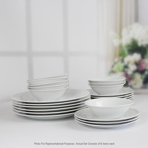 Winnsoma Elegante 18-Piece White Porcelain Dinnerware Set, Service For 6. Complete Set With 6 Dinner Plates, 6 Side Plates And 6 Small Bowls by Winnsoma (Image #5)