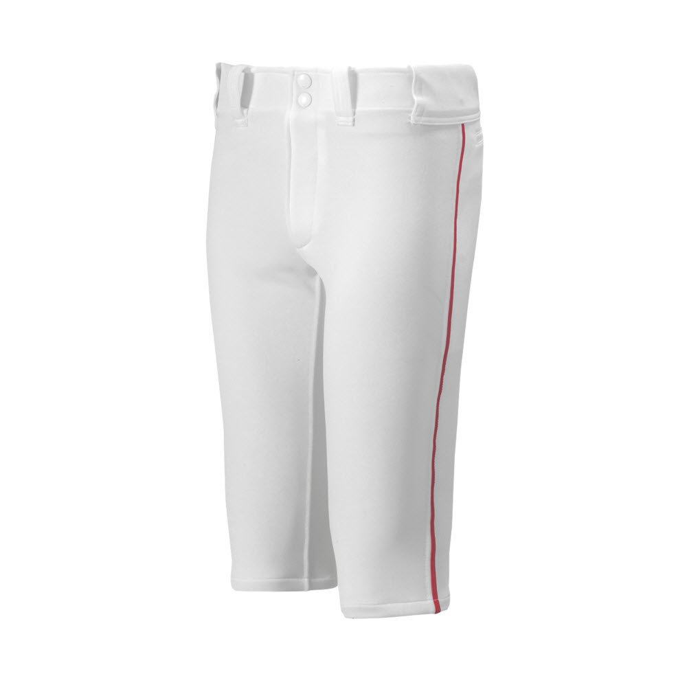 Mizuno Youth Premier Piped Short Baseball Pant, White-Red, Youth Large by Mizuno
