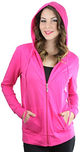 ToBeInStyle Women's Thin Fabric L.S. Zip Up Hoodie - Fuchsia - Medium