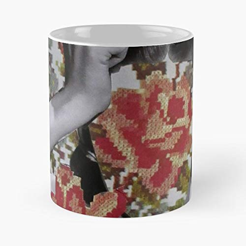 Needlepoint Collage Floral Simple - Coffee Mugs Unique Ceramic Novelty Cup For Holiday Days 11 Oz.