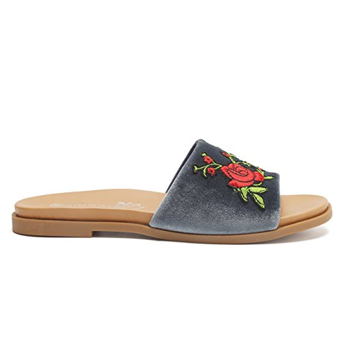 Flip On Fashion Patch Flat Slip Womens Slippers Sandals Rose Slide CIOR Flop Embroidered Grey Floral qUB8FWC