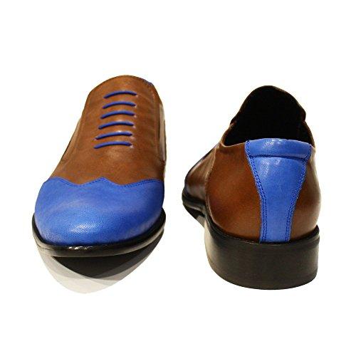 Modello Ronemo - Handmade Italiano Da Uomo In Pelle Blu Mocassini e slip-on - Vacchetta Pelle morbido - Scivolare su