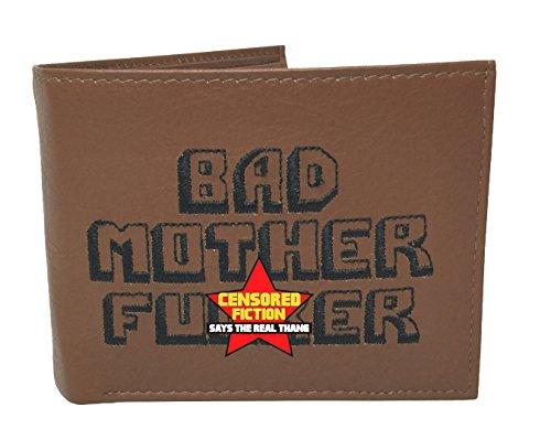 BMF Wallet Men's Original Bi-fold Embroidered Brown Genuine Leather