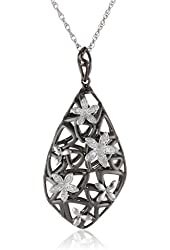 Sterling Silver Multi-Flowers Diamond Pendant Necklace (1/10cttw, I-J Color, I2-I3 Clarity), 18""