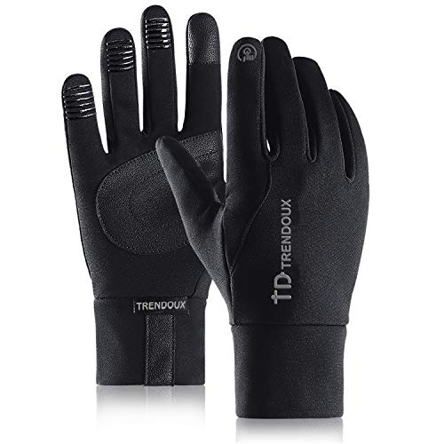 (TRENDOUX Driving Gloves, Unisex Glove for Texting Smartphone - Windproof &Water Resistant - Anti-Slip Silicone Gel and PU - Hands Warm in Winter Cold Weather for Outdoor Climbing - Black - L)