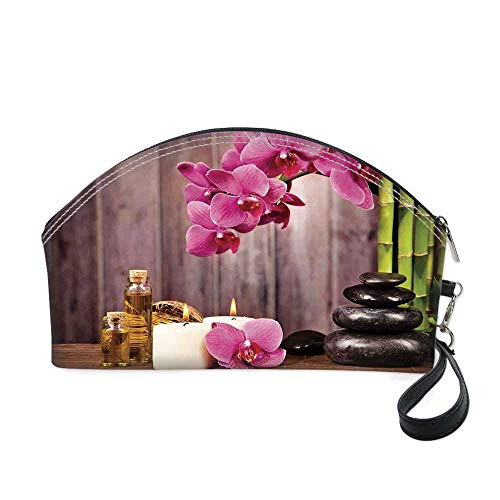 """Spa Decor Small portable cosmetic bag,Spa Orchid Flowers Rocks Bamboo Asian Style Aromatherapy Massage Therapy Decorative for Women,10.8""""Lx3.3""""Wx6.6""""H from YOLIYANA"""