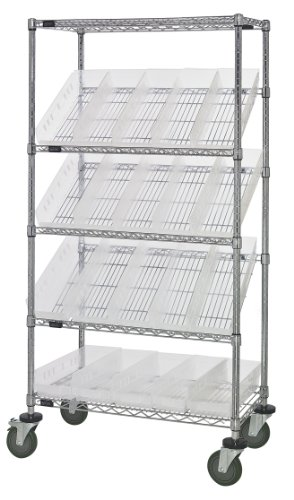 Quantum Storage Systems WRCSL5-63-1836-104CL 5-Tier Slanted Wire Shelving Suture Cart with 20 QSB104 Clear-View Economy Shelf Bins, 2 Horizontal and 3 Slanted Shelves, Chrome Finish, 69