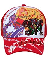 Printed Front Embroidered Design with Rhinestones Mesh Back Hat Cap - Red