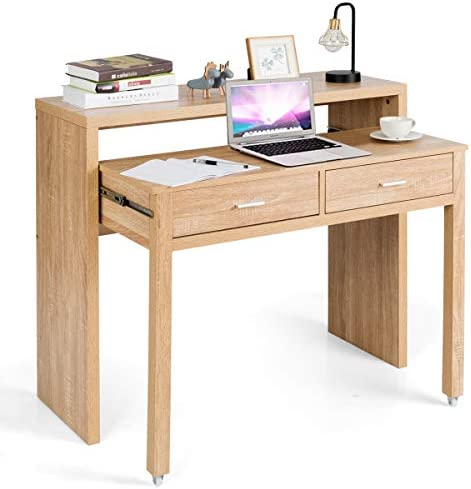 Tangkula Extendable Computer Desk, Small Writing Desk with Pull Out Secondary Desk, Console Table with 2 Drawers, Wood Study Workstation, Laptop Desk for Small Space Home Office Natural