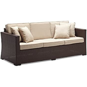 Amazon Com Strathwood Griffen All Weather Wicker 3 Seater
