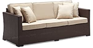 Strathwood Griffen All-Weather Wicker 3-Seater Sofa, Dark Brown