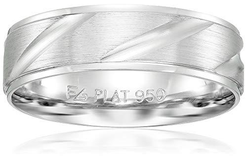 Collection Platinum Mens (Men's Platinum 6mm Diagonal Cut Wedding Band, White, Size 9)