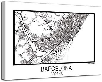 Foto Canvas Cuadro Mapa Barcelona en Lienzo Canvas Impreso Decorativo | Cuadros Modernos: Amazon.es: Hogar