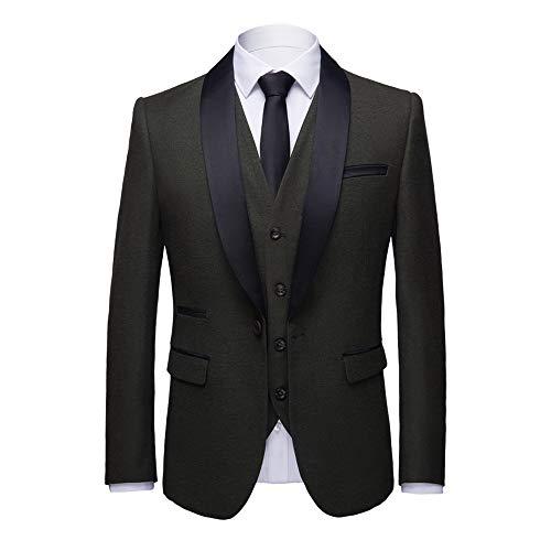 WEEN CHARM Men's 3-Pieces Suit Slim Fit Shawl Lapel One Button Vested Dress Suit Set Blazer Jacket Pants Tux Vest