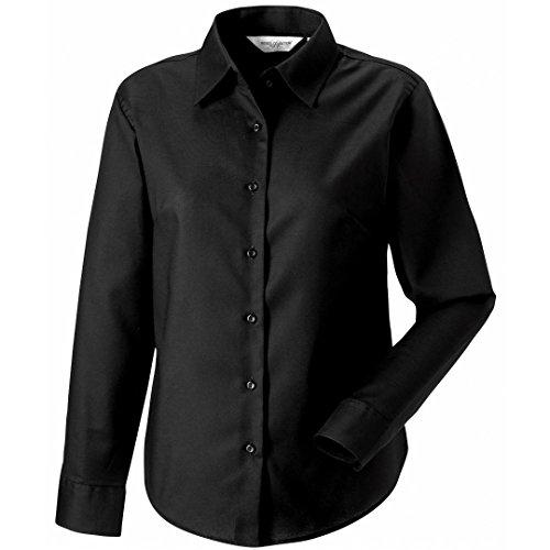 Russell Collection camiseta de manga larga para de fácil cuidado Oxford para mujer negro