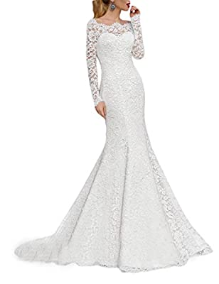 OYISHA Women's 2019 Lace Mermaid Wedding Dresses Long Sleeve Boat Neck Bride Dress WD166