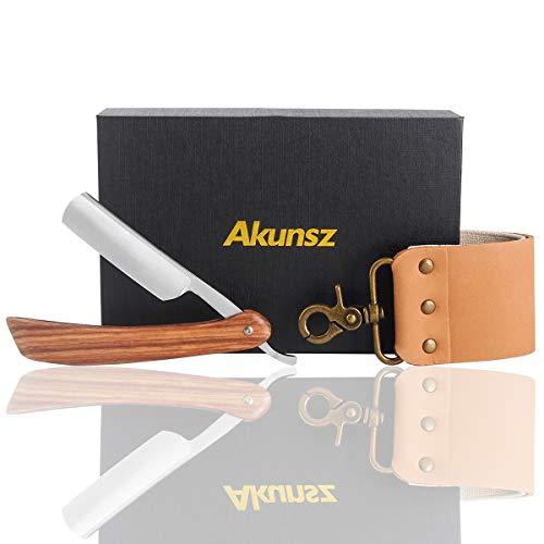 AKUNSZ Straight Razor Kits Men Cutthroat Shaving Razor with Leather Strop - One-Piece Pearwood Handle by AKUNSZ