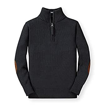 Hope & Henry Boys' Long Sleeve Half Zip Pullover Sweater with Elbow Patches Charcoal