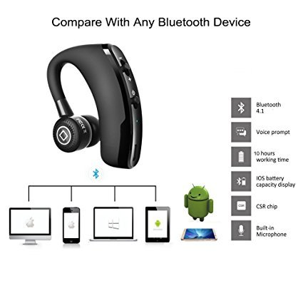 FastWin V9 Handsfree Business Wireless Bluetooth Headset With Mic Voice Control Headphone For Drive Connect With 2 Phone
