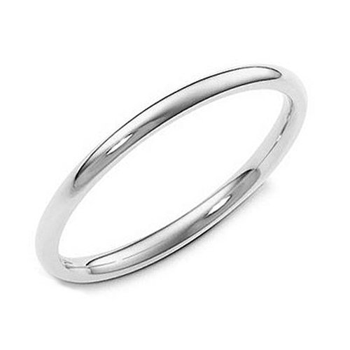 Sterling Silver 2MM High Polish Plain Dome Tarnish Resistant Comfort Fit Wedding Band Ring Sz 7