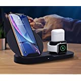lilypin® 3 in 1 Charging Stand for Apple Watch Airpods iPhone, Qi Fast Charger Dock with USB Output,Wireless Charging Station Holder