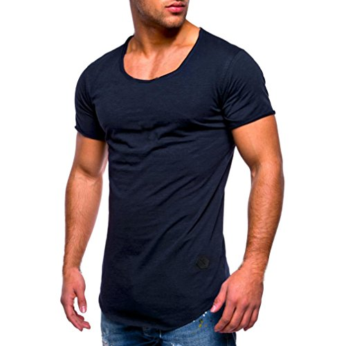 kaifongfu Men Tee, Men' Short Sleeve Slim Fit O Neck Muscle Cotton Tops Blouse Solid Color Shirts(Navy,L)
