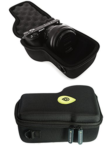 E {MICBERGSMA EDITION} compact hardshell case compatible with SONY ALPHA a6000, a6300, a6500 Camera Body w/ Lens Sizes 10mm-105mm [WATER-RESISTANT NYLON] FITS CAMERA & LENS ()