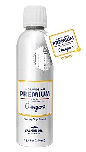 Norwegian Premium Omega-3 by P.T-Johannessen® Salmon Fish Extra Virgin not from Concentrate burpless Oil Citrus Liquid (Aluminium Bottle 250 ml/8.5 fl. oz). Made in (10 European Tablespoon)