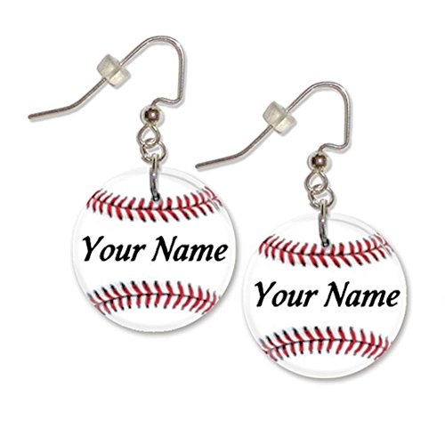 Custom Button Earrings (Personalized White Baseball Button Dangle Sports Earrings)