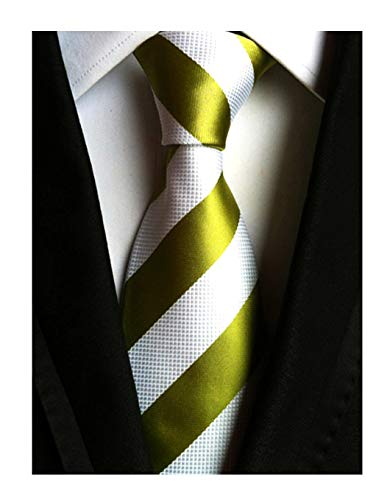 (Mens White Army Green Woven Casual Preppy Stylish Tie Necktie Present Gift Ideal)