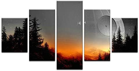 Star Wars Death Star 5 Panel Canvas Print Wall Art Space Canvas Painting For Bedroom Decor 40×60 40×80 40x100cm
