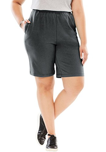 Woman Within Women's Plus Size Easy 2-Pocket Shorts In Stretch Knit Heather Charcoal,3X