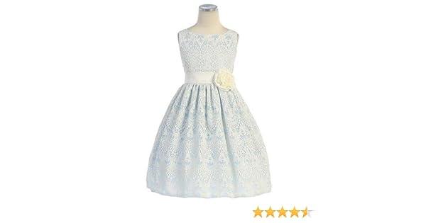 aae0e8d85c49 Amazon.com  Sweet Kids Little Girls Blue Vintage Lace Overlay Easter Dress   Clothing