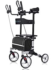 """ELENKER Upright Walker, Stand Up Folding Rollator Walker with 10"""" Front Wheels Backrest Seat and Padded Armrests for Seniors and Adults, Silver"""